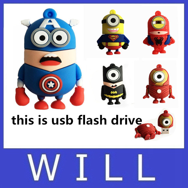 usb flash drive 64GB pen drive 32GB Captain America super hero minions 16GB 8GB 4GB 2GB lovely cartoon Despicable Me Pendrive(China (Mainland))