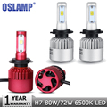 Oslamp 2pcs H7 80W 72W Car LED Headlight Bulb CREE Chips 9600lm 8000lm White 6500K Auto