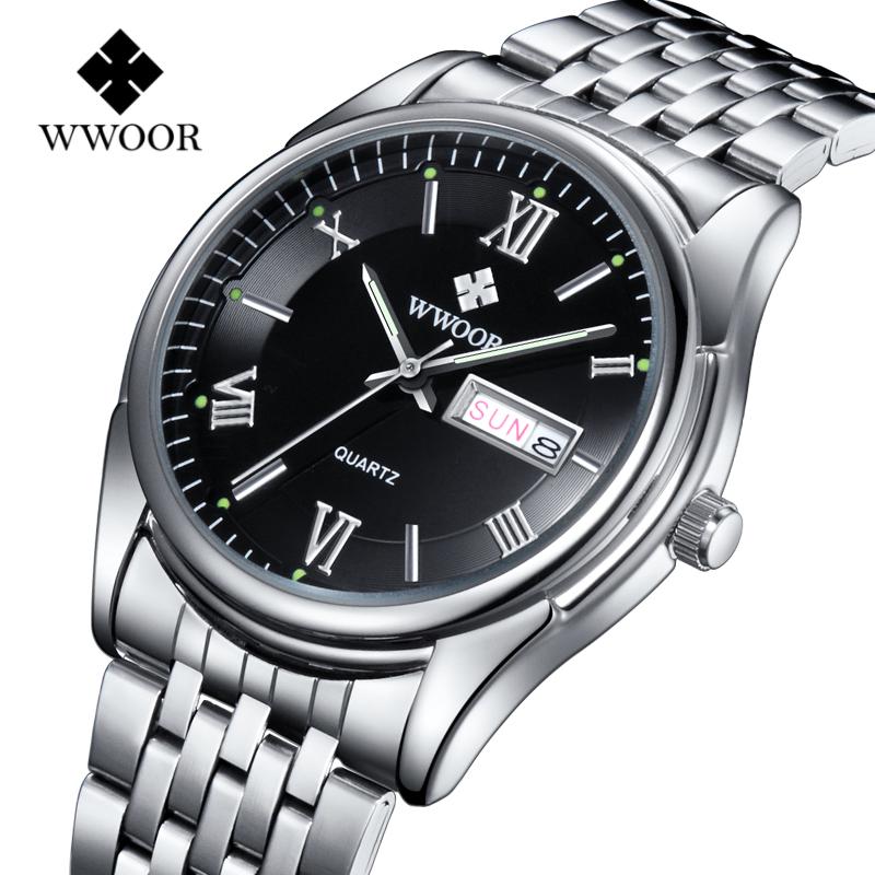 WWOOR Watches Luxury Top Brand Men's Watch Date Stainless Steel Relojes Luminous Hour Clock Dress Men Casual Quartz Wristwatches