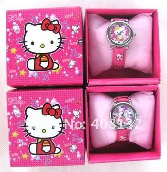 Free Shipping ( 40 style ) 10 Pcs Cute Mix Children Watch With Boxes Cheap Kids Cartoon Watches Hello Kitty , Car ,ben 10 Watch