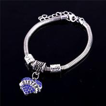 New Fashion Jewelry Family Jewelry Mom Sister Bracelet Hope Heart Shape Beads Crystal Rhinestone For Women Gifts(China (Mainland))