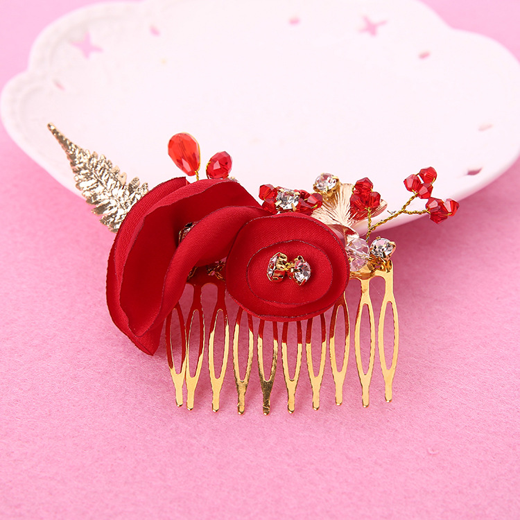 The bride's hair comb flower fashion goods red wedding jewelry manufacturers selling Costume Robe()
