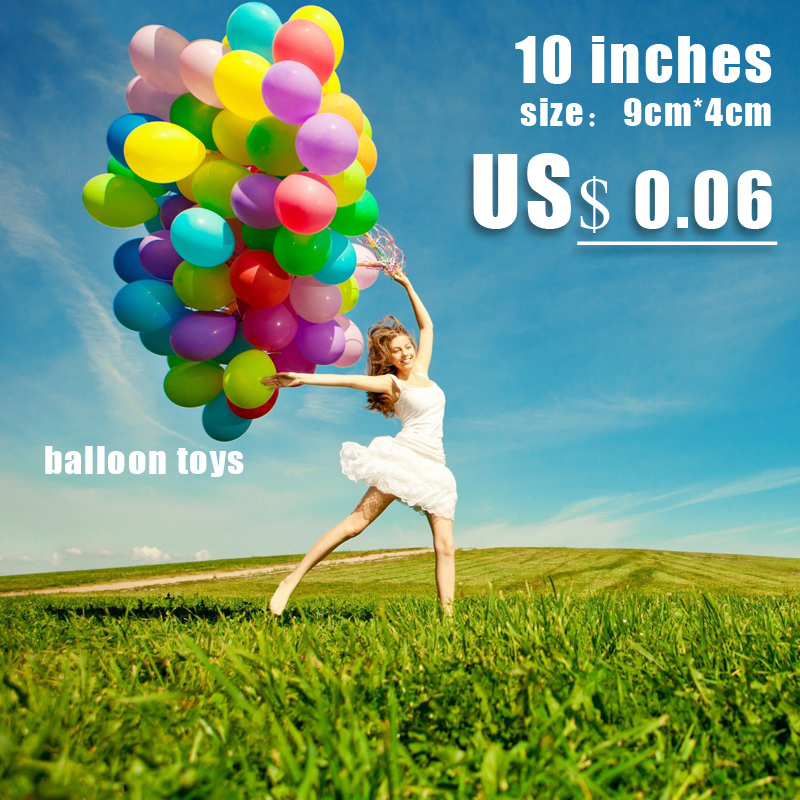 10 Inch Mixed Colors Inflatable latex Balloon Air Balls Wedding Party Decoration Birthday Party Balloons Float Toys Children(China (Mainland))