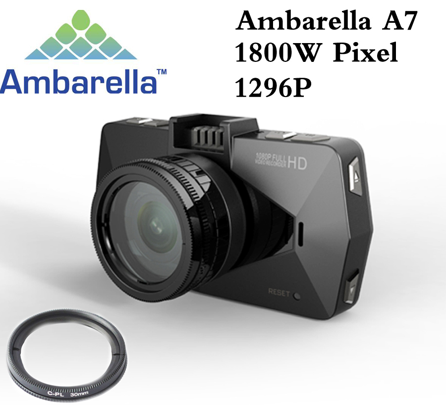 Best camera Ambarella A7 LA70 Car DVR Video Recorder Full HD 1296P GPS Logger Night Vision polarizing CPL Filter Support 64G(China (Mainland))