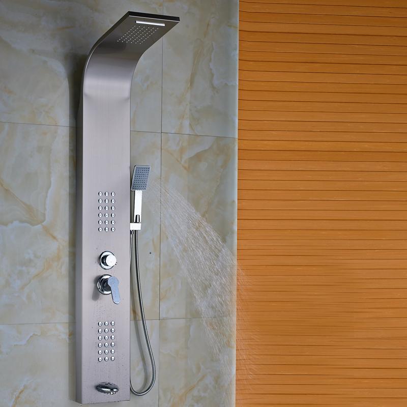 Buy Brushed Nickel Multi Function Wall Mount Ssower Body System Bath Shower