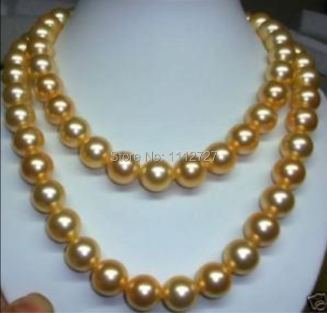 "Discount!!DIY Fashion! 8mm gold south sea shell pearl necklaces 36"" AAA beads jewelry making AAA+++ about104pcs/strands(China (Mainland))"