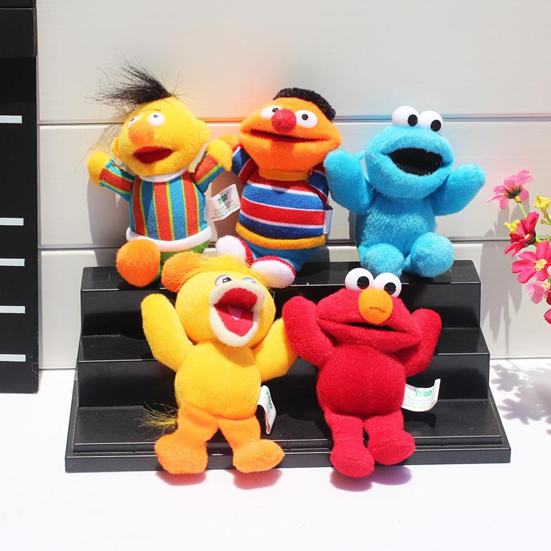 5pcs/set Sesame Street Elmo Cookie Big Bird Ernie Bert Plush Toys Stuffed Doll 13cm Free Shipping(China (Mainland))