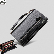 2015 New fashion brand black genuine leather men wallets long high quality brown clutch purses carteira masculina couro QB1287