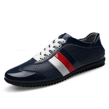 Men Summer Shoes Genuine Leather Shoes Flats Men Casual Shoes Breathable Patent Leather Men Shoes Casual(China (Mainland))
