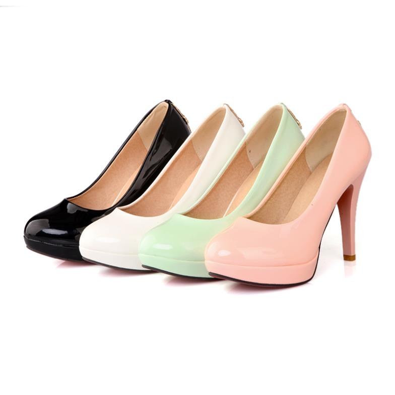 Size35-43 Women Pumps Fashion Spool High Heel RhinestoneSolid Soft Leather Elegent Cone Red bottom R2173