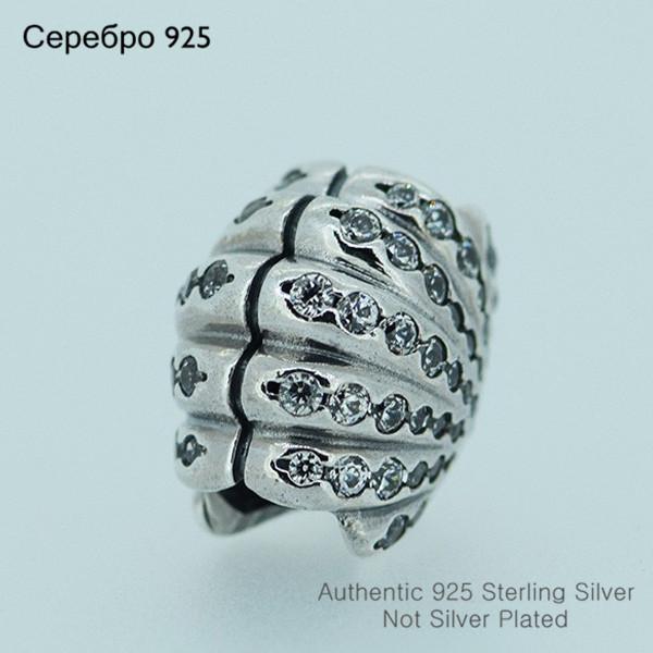 Оболочки бусины инкрустированные CZ камни чисто 925-Sterling-Silver подходит пандора браслет DIY женщины ювелирных изделий