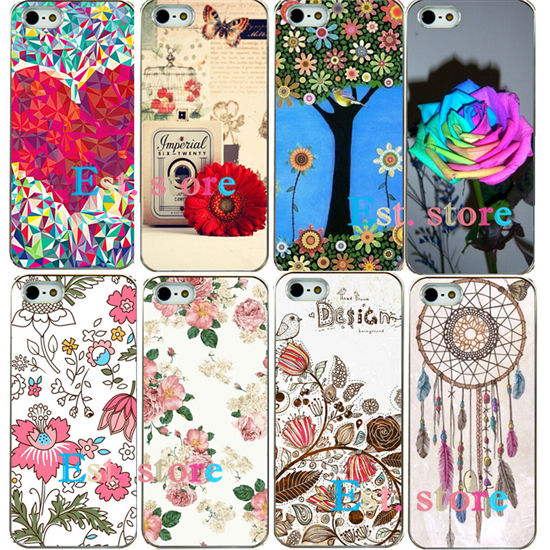 Literature and art beautiful flower style UV print hard mobile phone case for apple iphone 4 4S iphone4 emboss back cover(China (Mainland))