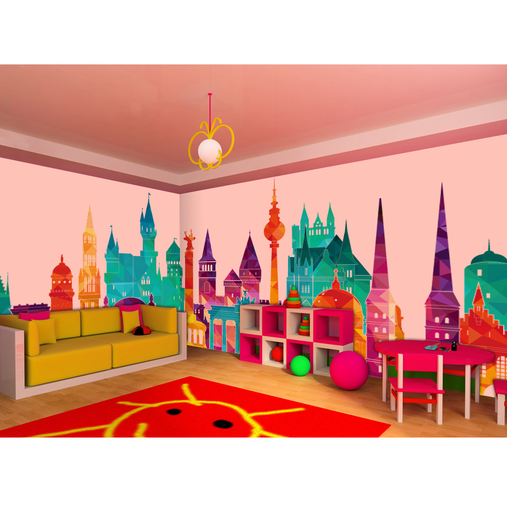 High quality modern desgin customization nursery daycare for Castle mural kids room