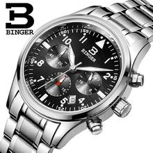 Switzerland BINGER watches men luxury brand Quartz waterproof full stainless steel Chronograph Stop Watch Wristwatches B9202-2