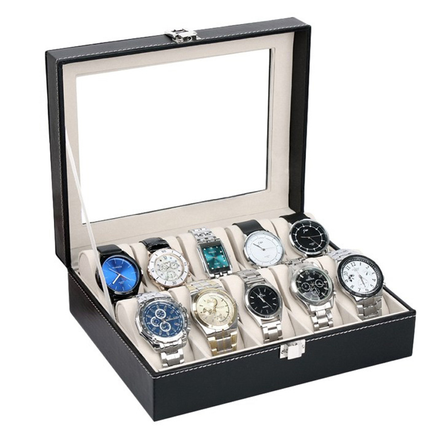 Homestyle Leather Watch Case Jewelry Display Collection Storage Watch Organizer Box Holder Caixa De Relogios(China (Mainland))