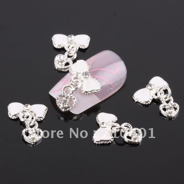 Xmas Item Free Shipping Wholesale/Nail Supply, 50pcs 3D Alloy Newest Bowtie Heart DIY Acrylic Nails Design/Nail Art, Unique Gift