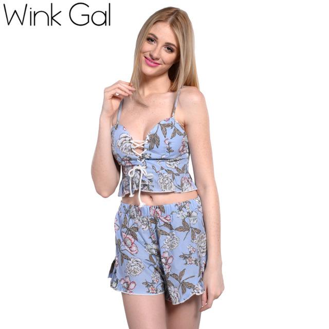 Wink Gal 2 шт Женщины и шорты Комплект Сексуальная Летний стиль Одежда для пляжа ...