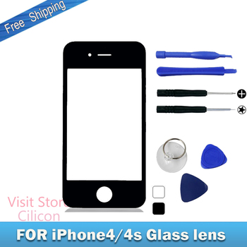 Black,White Outer Glass Lens,Touch Screen Glass,Front Glass,Touch Panel Replacement for Apple IPhone 4/4s 3.5'+Tool