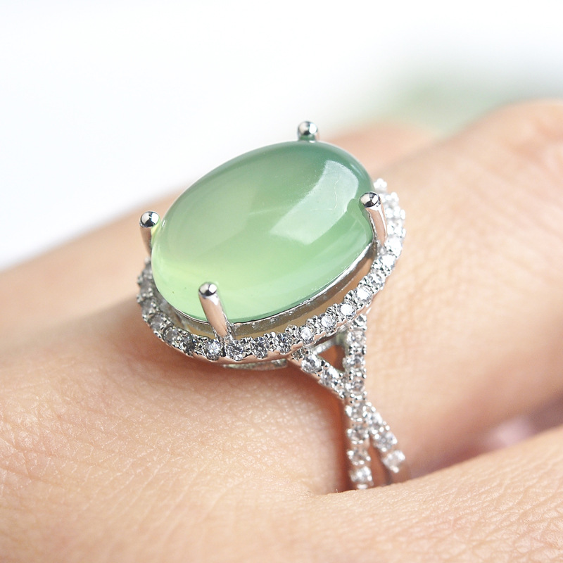 Jewelry series natural emerald ring micro inlaid CZ retro fashion accessories all-match winter<br><br>Aliexpress