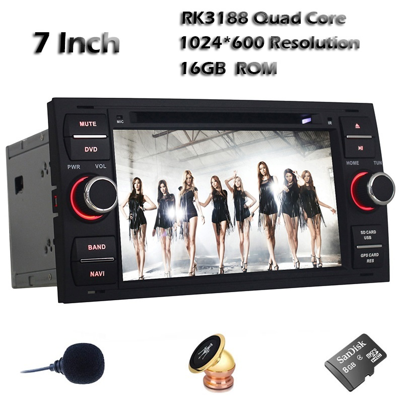 Quad Core Android 4.4 Car DVD Player for Black Ford Focus/Mondeo 7 Inch 1024*600 Car GPS Navigation with Radio WIFI 3G Bluetooth(China (Mainland))