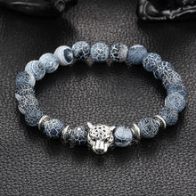 Wholesale Antique Silver Plated Buddha Leopard head Bracelet Lava Natural Stone Beaded Bracelets For Men Women Pulseras Hombre(China (Mainland))