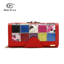 Qianxilu Brand Fashion Women Wallet Genuine Leather Patchwork Purse Female Long Design 2016(China (Mainland))
