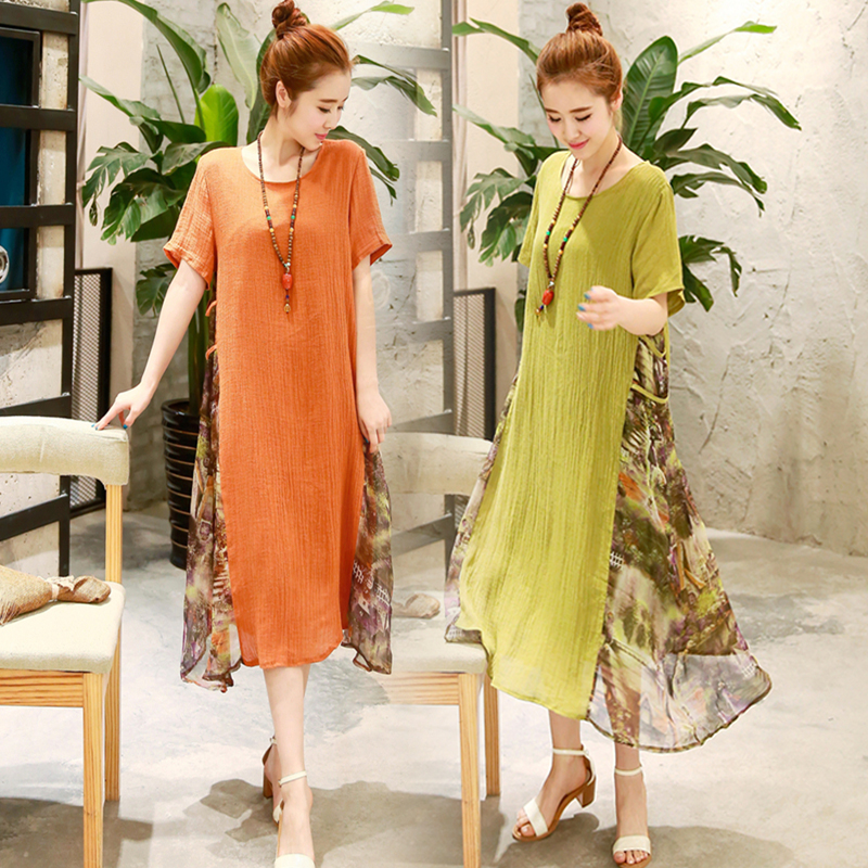 M 2xl plus size long linen dresses women china style for Chaise patchwork xl style