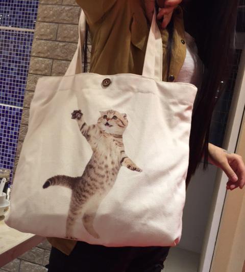 2016 Women Canvas Handbag Fabric HANDMADE Felt Casual Animal Cat Print Shopper Bag Shabby Chic Etsy Beach Teacher Gift Totes(China (Mainland))