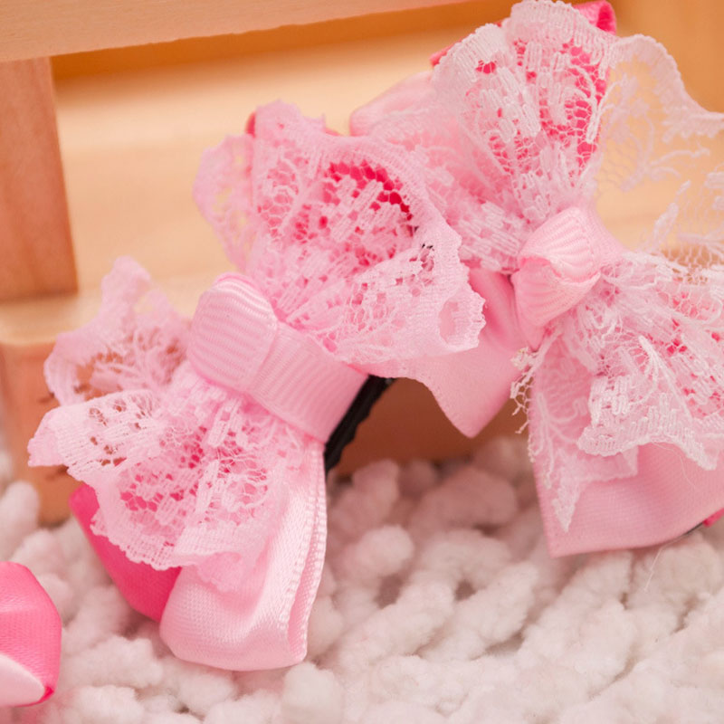 1 Pair Pet Products Cute Pink Dog Bow Pet Hair Clips With Lace DIY Cat Hair Accessories Pet Grooming Boutique Retail