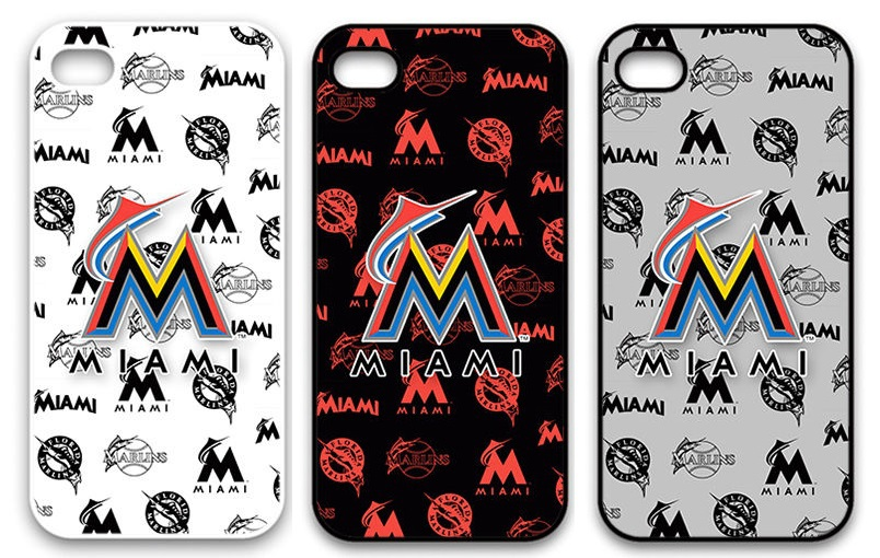 MLB Baseball Miami Marlins Plastic Hard Back Cell Phone Case Cover Cases for Apple iPhone 4 And 4S(China (Mainland))