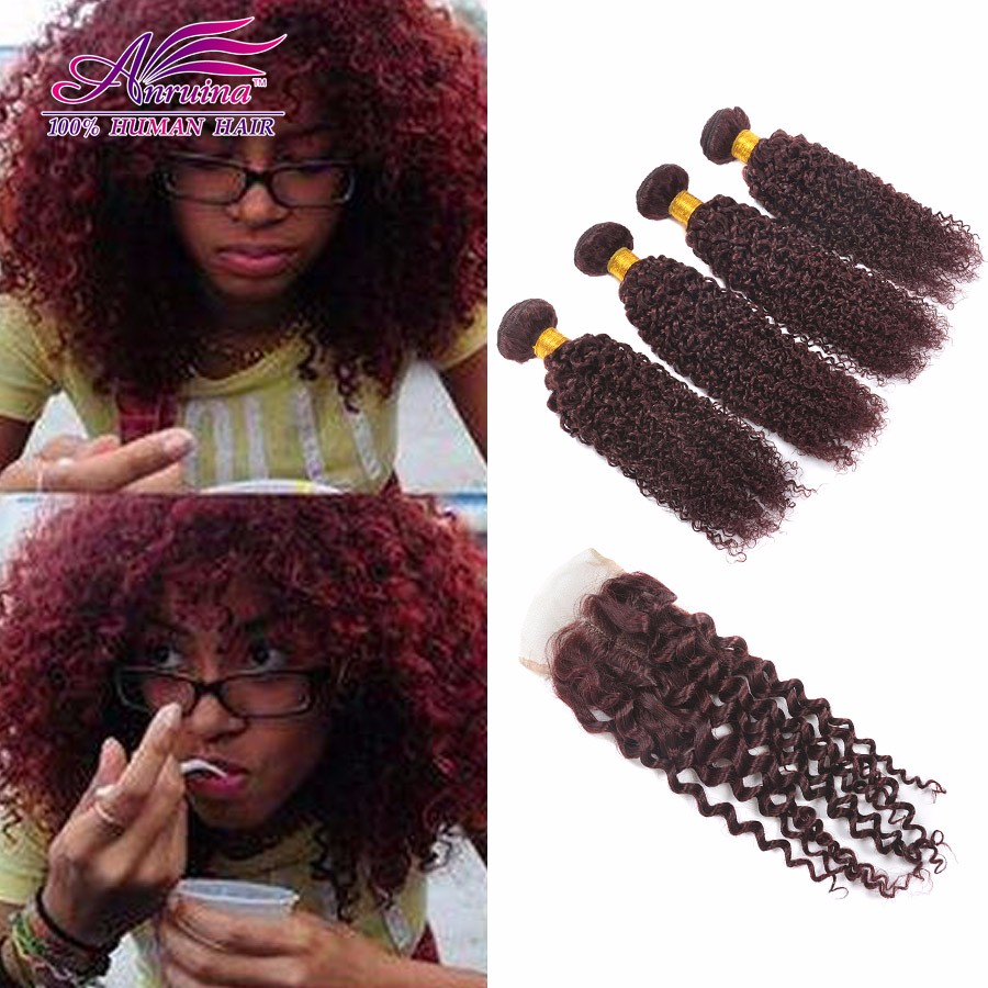 Indian Curly Virgin Hair With Closure Curly Weave Human Hair With Closure 99J Burgundy Kinky Curly Lace Closure With 4 Bundles