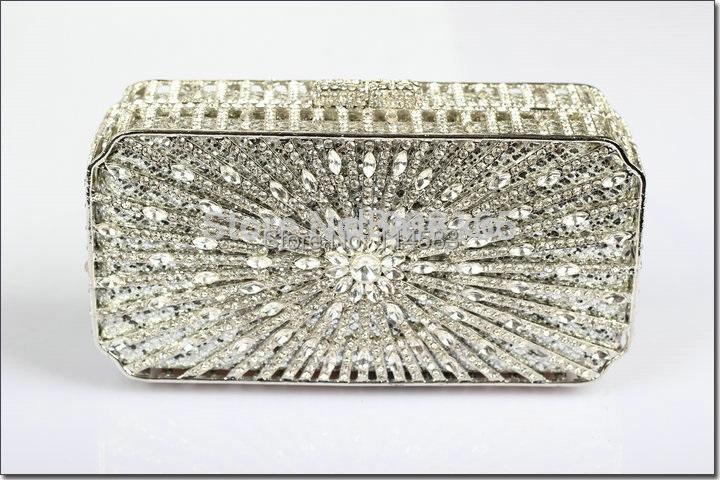 8253S SILVER crystal Treasure box Lady fashion Wedding Bridal hollow Metal Evening purse clutch bag handbag<br><br>Aliexpress