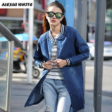 Denim Jacket Women 2017 Autumn Slim Long Sleeved Jeans Coat Fashion Female Outwear Ripped For Woman(China (Mainland))