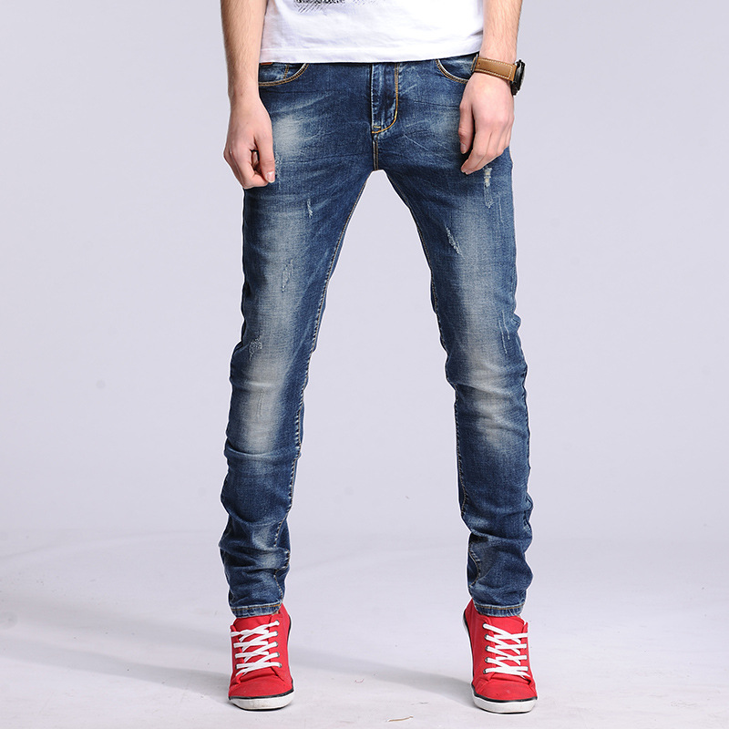 Personality Skull Patchwork Jeans Men Ripped Jeans Fashion Brand Scratched Biker Jeans Hole Denim Straight Slim Fit Casual Pants(China (Mainland))