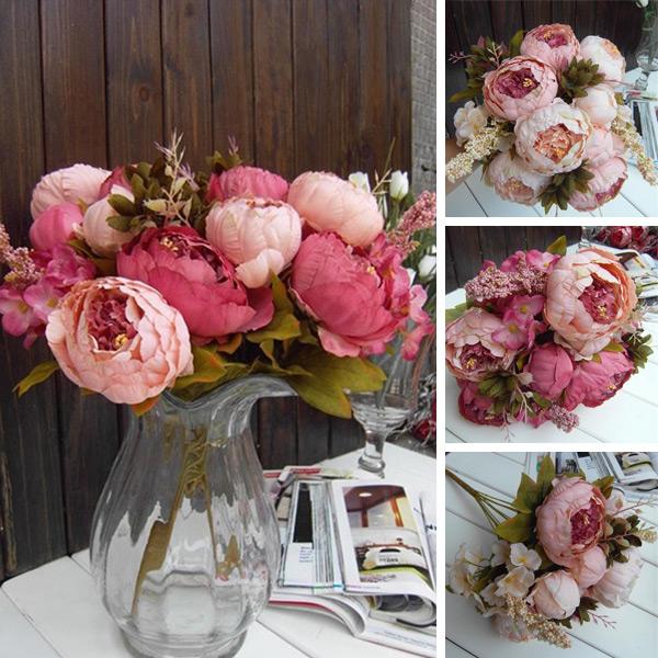 Peony Silk Flowers Floral 8 Head Home Wedding Decor Decoration