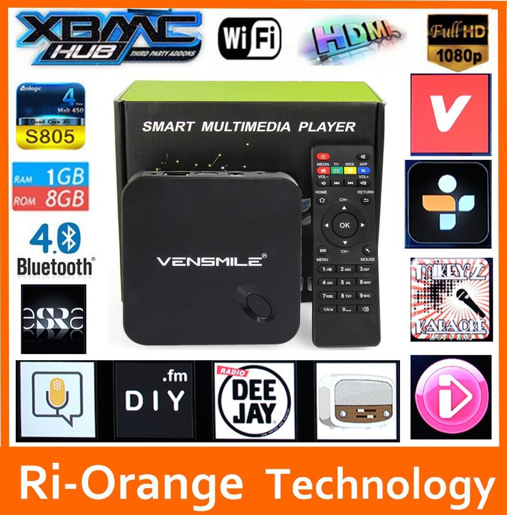 Vensmile MXV tv box Smart tv box android tv box Kodi Preinstalled Amlogic S805 Quad Core