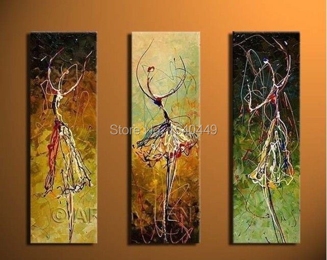 3 piece set canvas wall art hand painted abstract oil painting ballerina dancer girl decorative pictures for bedroom decor 317(China (Mainland))