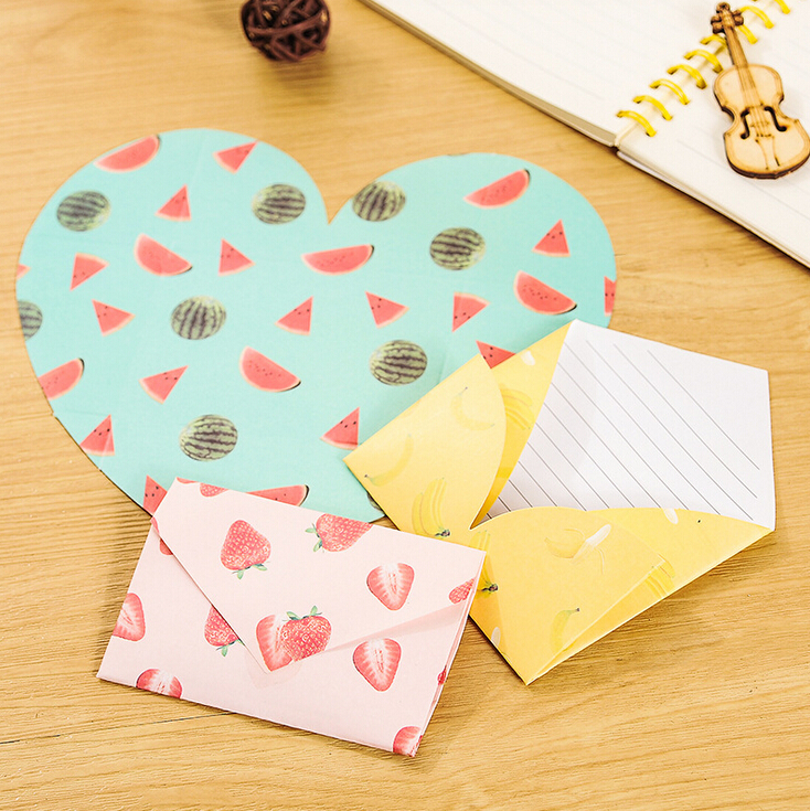 4 pcs/pack Creative Fruit Pattern Hearts Shaped Letter Paper Envelope Letter Pad Gift Stationery School Office Supply(China (Mainland))