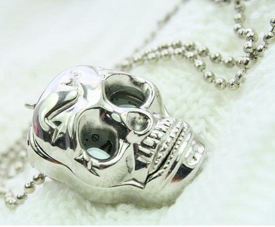 Wholesale 5pcs New Fashion Necklace Silver Skull Pendant Pocket Watch free shipping 142615(China (Mainland))