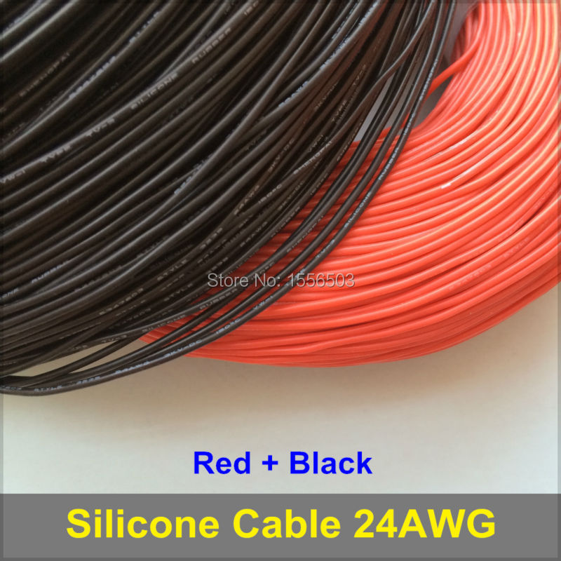 5m Red + 5m Black Silicone Rubber Wire 24AWG 3239 Insulated Cable Flexible Soft for LED Lighting Strip Extension Electronic DIY(China (Mainland))