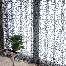 Fashion Floral Tulle Voile Door Window Curtains Drape Panel Sheer Scarf Valances(China (Mainland))