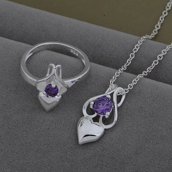 AS537 Trendy silver Jewelry Sets Ring 603 + Necklace 985 /axrajoya byoakpva - jewelry2013 store