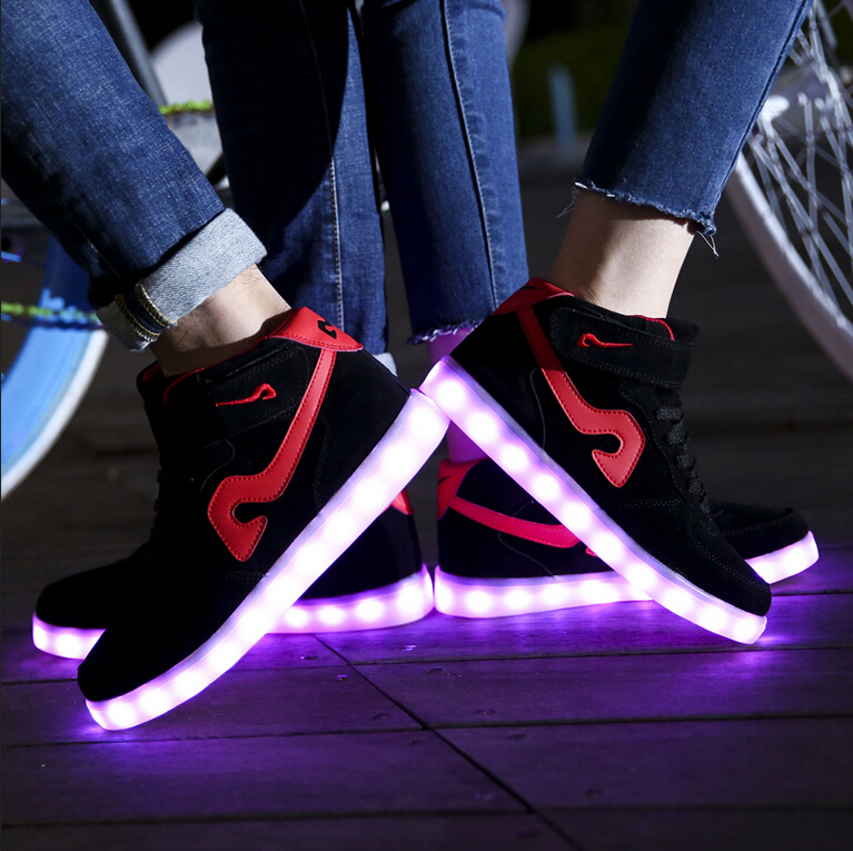 Ghost dance step shine shoes black 2015 new sneakers with lights shoes male USB charging 7 colour LED luminous shoes(China (Mainland))