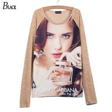 80% linen Women T Shirt Poleras Camisetas Mujer Womens Tops Fashion 2015 Long Sleeve T-shirt diamond woman Ropa Vetement Femme(China (Mainland))