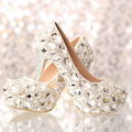 Bridal shoes Rhinestone Match wedding Outfit High heel Dress Shoes Silver 10cm Heel Party Nightclub Prom