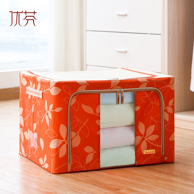clothing storage box 66 oxford fabric metal frame box oversized foldable visible from side clothes quilt storage box(China (Mainland))