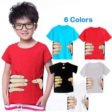 Fashion Children Cotton T-Shirts Spoof Grab You Baby Girls Boys Short Sleeve T Shirts Kids 3D Big Hand Child Clothing Tops Tee(China (Mainland))