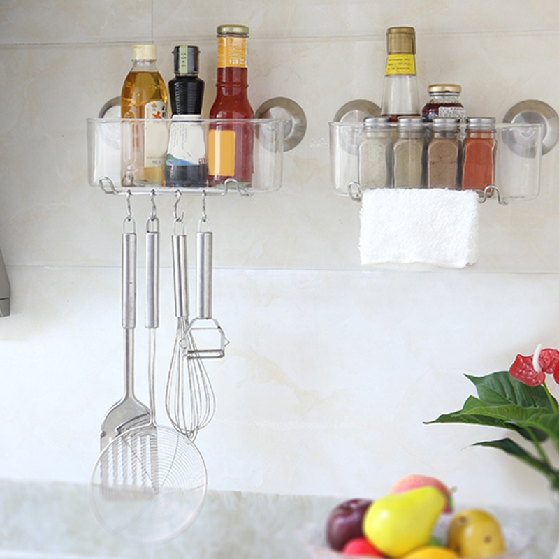 Decorative Wall Shelf For Kitchen : Wall mounted type sucker washroom plastic storage holders