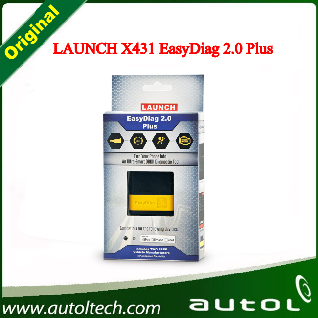 DHL Fast Shipping !!! 100% Original Launch X431 EasyDiag 2.0 Plus for IOS and Android +2 Free Car Software Launch Easy Diag Tool(China (Mainland))