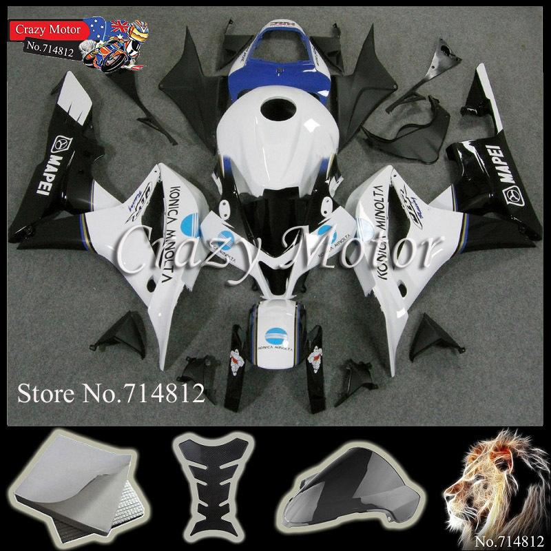 * INJECTION MOLD white blue Fairings HONDA CBR600RR 2007 2008 ABS Plastic Bodywork Set Fairing Fit CBR 600 - Crazy Motor store